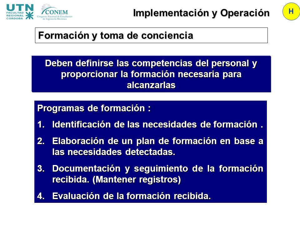 Implementación y Operación H Programas de formación : 1.Identificación de las necesidades de formación. 2.Elaboración de un plan de formación en base