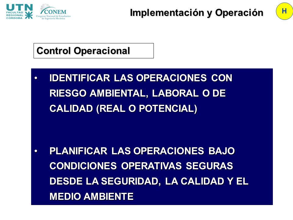 Implementación y Operación H Control Operacional IDENTIFICAR LAS OPERACIONES CON RIESGO AMBIENTAL, LABORAL O DE CALIDAD (REAL O POTENCIAL)IDENTIFICAR