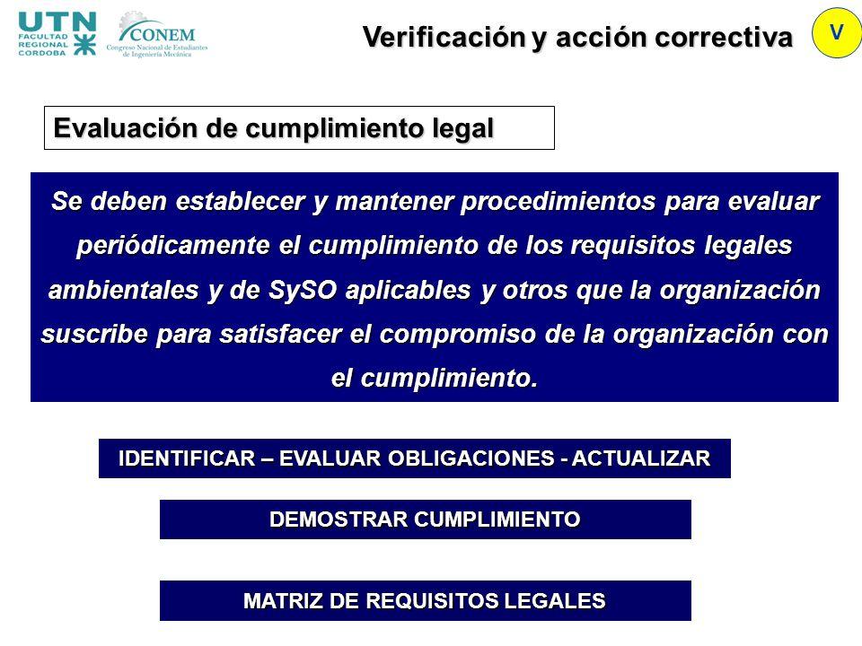 Verificación y acción correctiva V Se deben establecer y mantener procedimientos para evaluar periódicamente el cumplimiento de los requisitos legales
