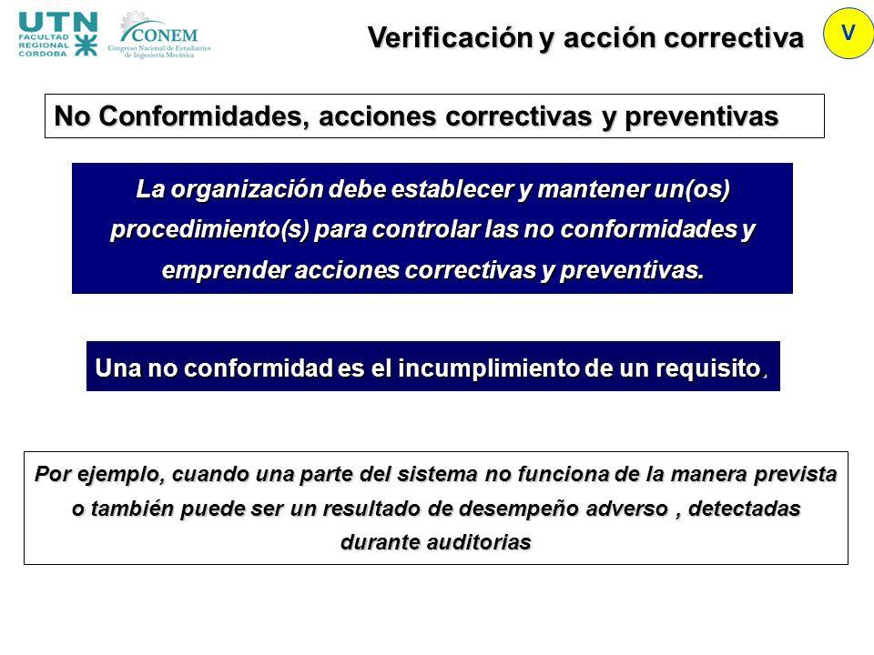 Verificación y acción correctiva V No Conformidades, acciones correctivas y preventivas La organización debe establecer y mantener un(os) procedimient