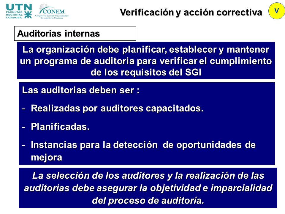 V Auditorias internas Las auditorias deben ser : -Realizadas por auditores capacitados. -Planificadas. -Instancias para la detección de oportunidades