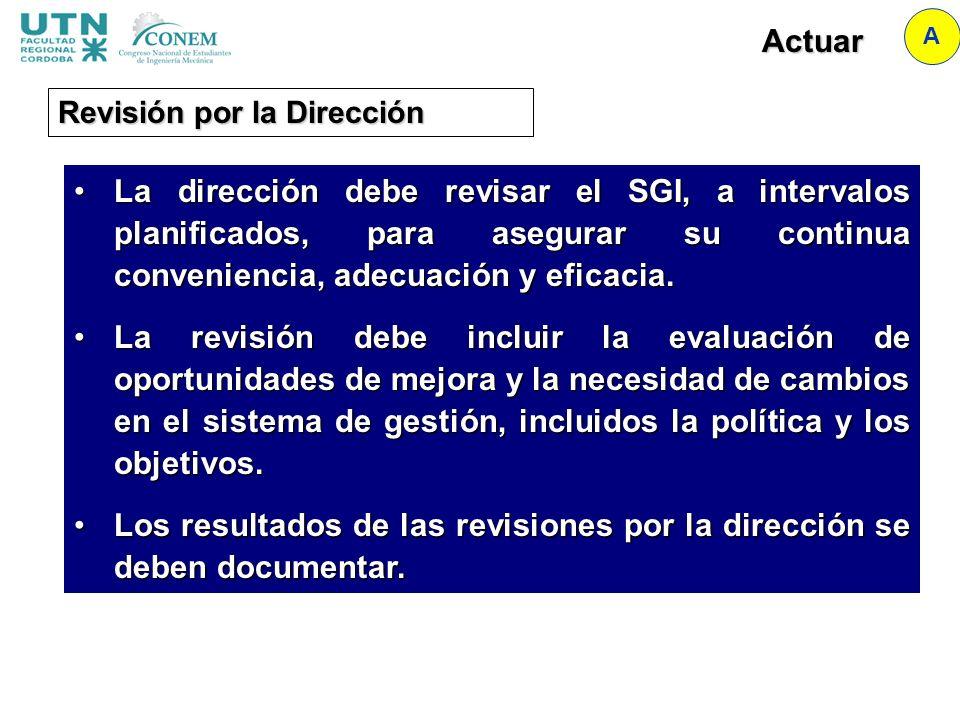 Actuar A Revisión por la Dirección La dirección debe revisar el SGI, a intervalos planificados, para asegurar su continua conveniencia, adecuación y e