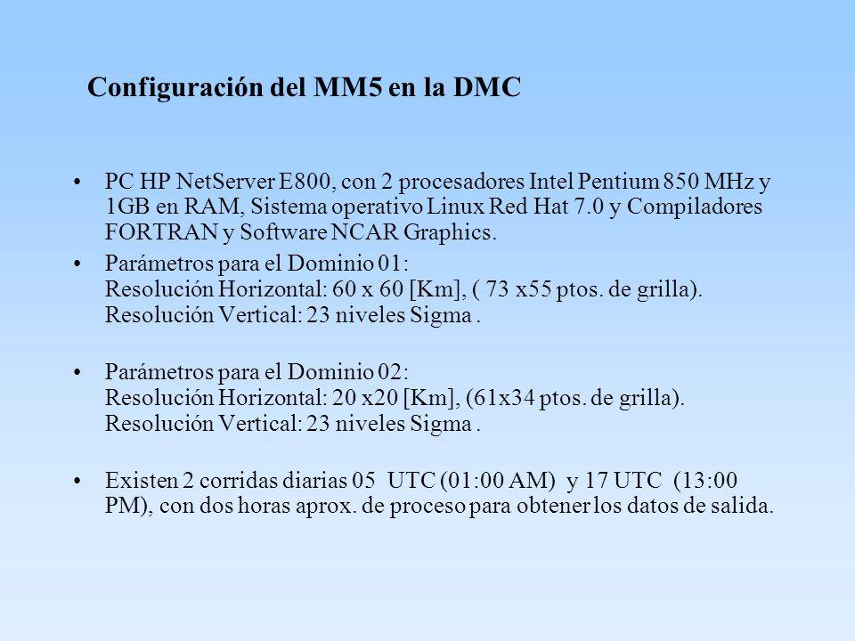 Configuración del MM5 en la DMC PC HP NetServer E800, con 2 procesadores Intel Pentium 850 MHz y 1GB en RAM, Sistema operativo Linux Red Hat 7.0 y Com
