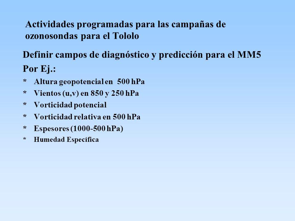 Actividades programadas para las campañas de ozonosondas para el Tololo Definir campos de diagnóstico y predicción para el MM5 Por Ej.: *Altura geopot