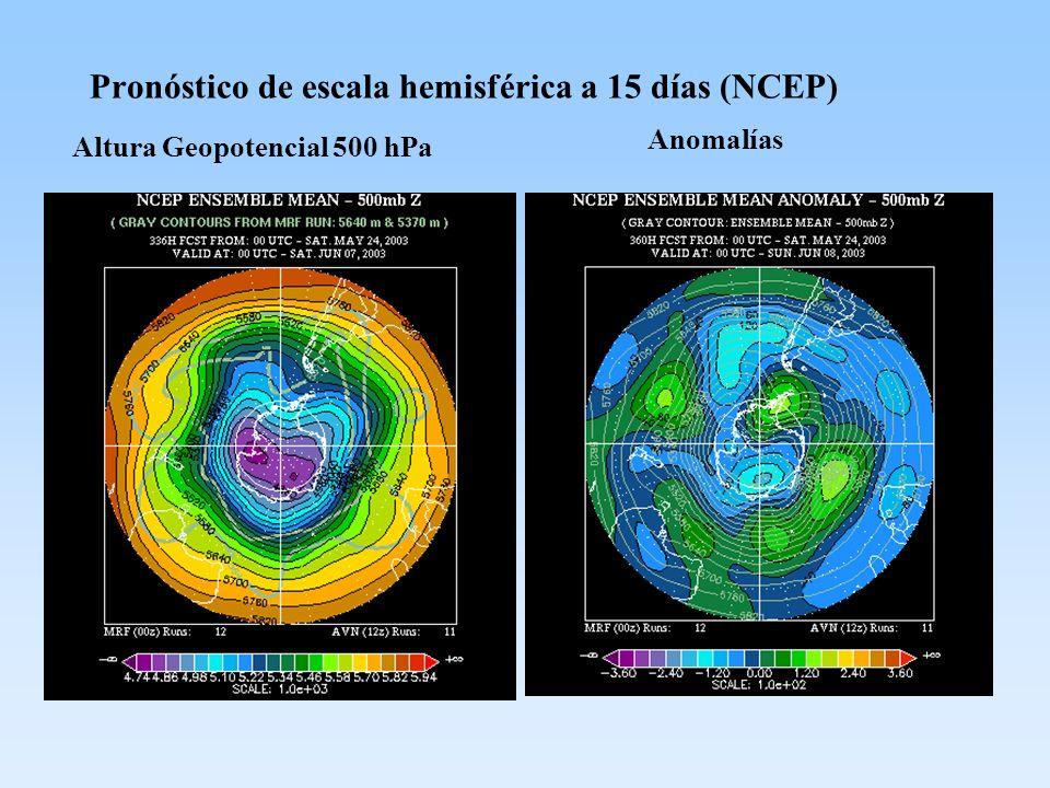 Pronóstico de escala hemisférica a 15 días (NCEP) Altura Geopotencial 500 hPa Anomalías