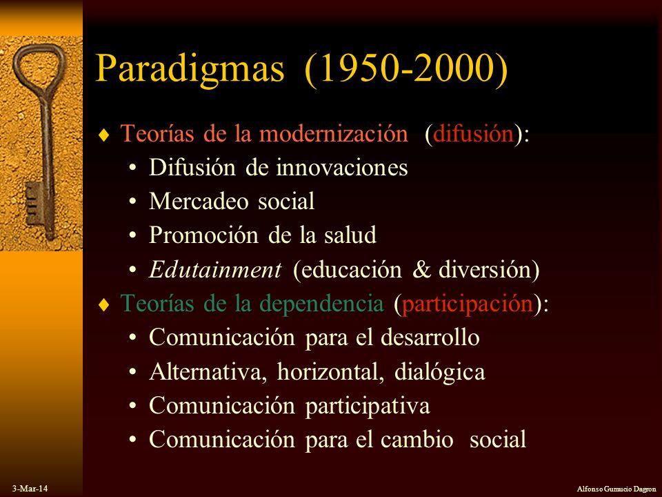 3-Mar-14 Alfonso Gumucio Dagron Paradigmas (1950-2000) Teorías de la modernización (difusión): Difusión de innovaciones Mercadeo social Promoción de l