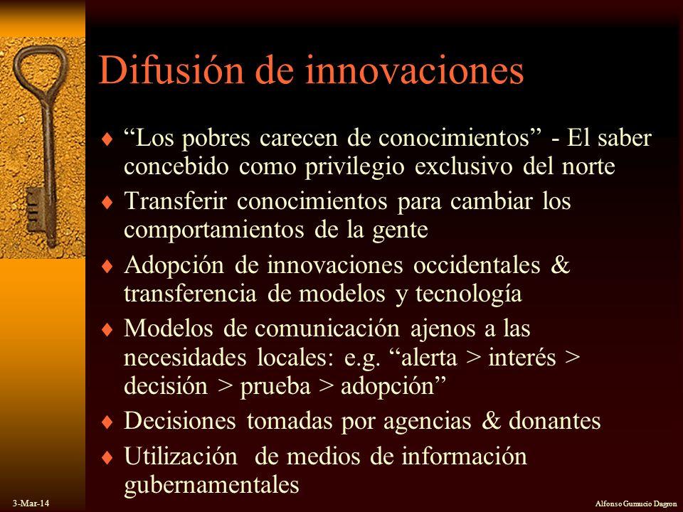 3-Mar-14 Alfonso Gumucio Dagron Difusión de innovaciones Los pobres carecen de conocimientos - El saber concebido como privilegio exclusivo del norte