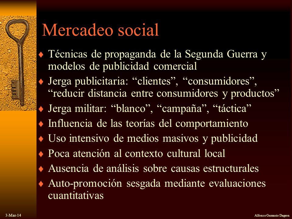 3-Mar-14 Alfonso Gumucio Dagron Mercadeo social Técnicas de propaganda de la Segunda Guerra y modelos de publicidad comercial Jerga publicitaria: clie