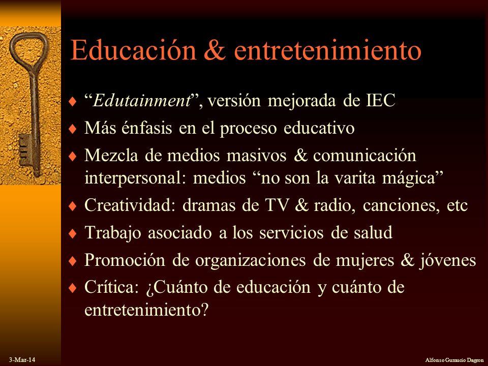 3-Mar-14 Alfonso Gumucio Dagron Educación & entretenimiento Edutainment, versión mejorada de IEC Más énfasis en el proceso educativo Mezcla de medios