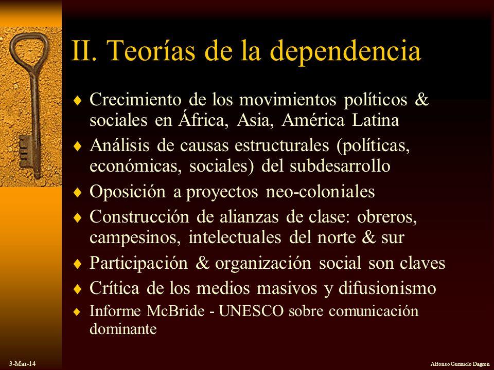 3-Mar-14 Alfonso Gumucio Dagron II. Teorías de la dependencia Crecimiento de los movimientos políticos & sociales en África, Asia, América Latina Anál