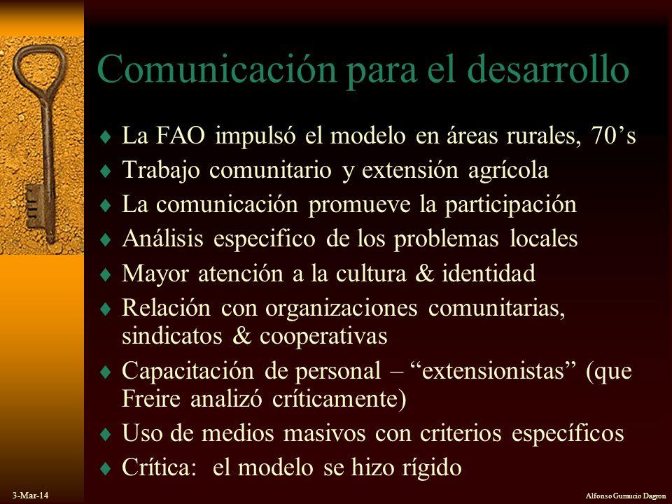 3-Mar-14 Alfonso Gumucio Dagron Comunicación para el desarrollo La FAO impulsó el modelo en áreas rurales, 70s Trabajo comunitario y extensión agrícol