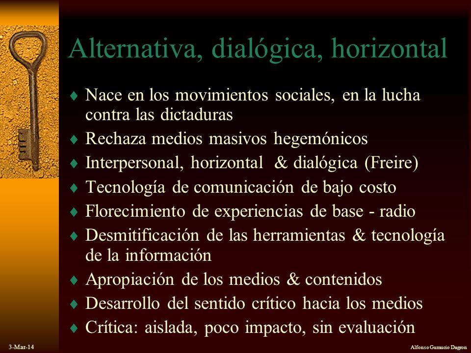 3-Mar-14 Alfonso Gumucio Dagron Alternativa, dialógica, horizontal Nace en los movimientos sociales, en la lucha contra las dictaduras Rechaza medios