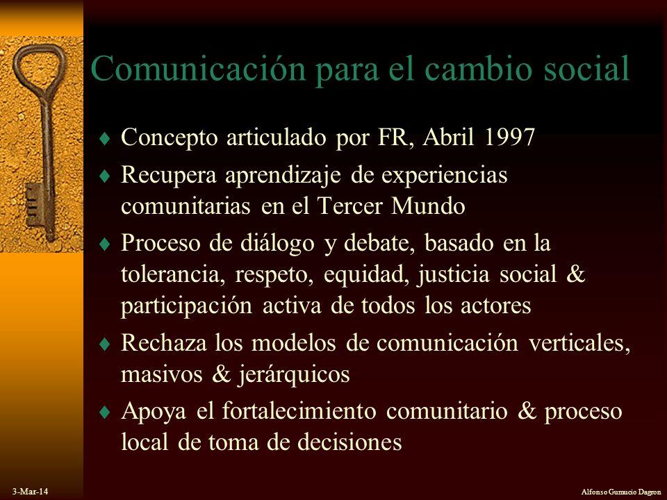 3-Mar-14 Alfonso Gumucio Dagron Comunicación para el cambio social Concepto articulado por FR, Abril 1997 Recupera aprendizaje de experiencias comunit