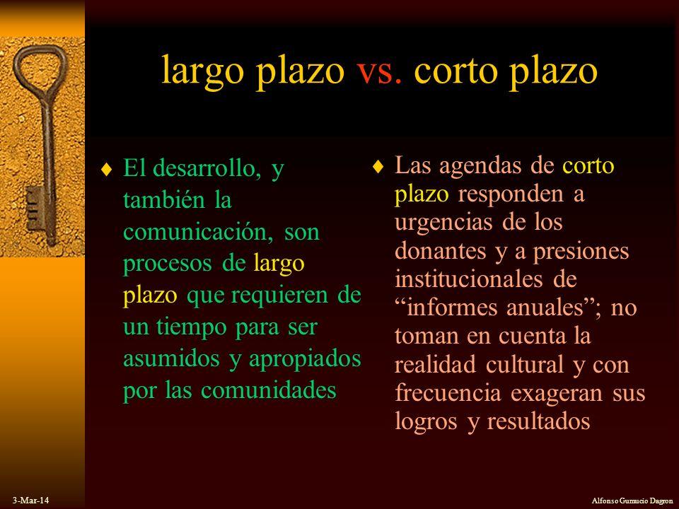 3-Mar-14 Alfonso Gumucio Dagron largo plazo vs. corto plazo El desarrollo, y también la comunicación, son procesos de largo plazo que requieren de un