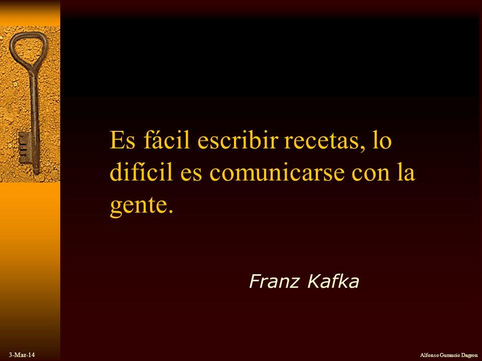 3-Mar-14 Alfonso Gumucio Dagron Es fácil escribir recetas, lo difícil es comunicarse con la gente. Franz Kafka