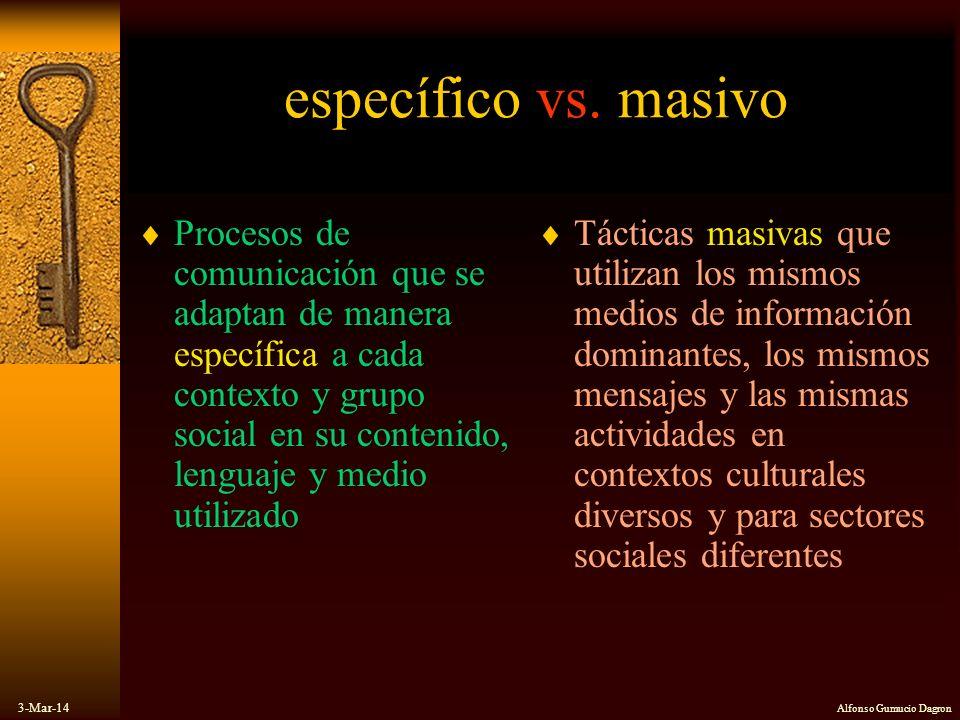 3-Mar-14 Alfonso Gumucio Dagron específico vs. masivo Procesos de comunicación que se adaptan de manera específica a cada contexto y grupo social en s
