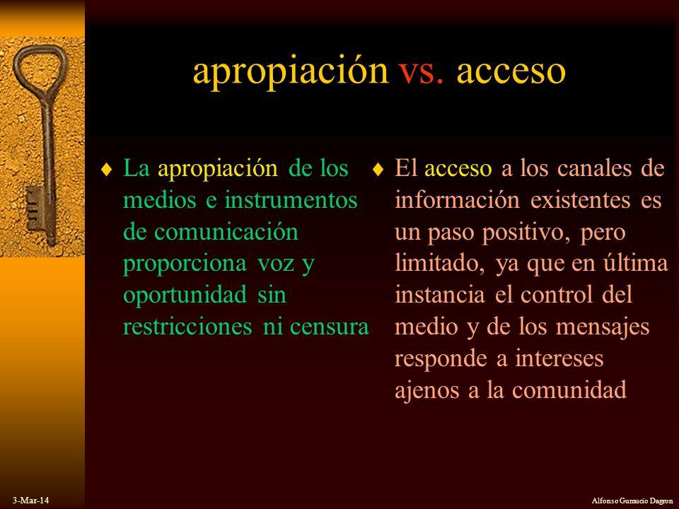 3-Mar-14 Alfonso Gumucio Dagron apropiación vs. acceso La apropiación de los medios e instrumentos de comunicación proporciona voz y oportunidad sin r
