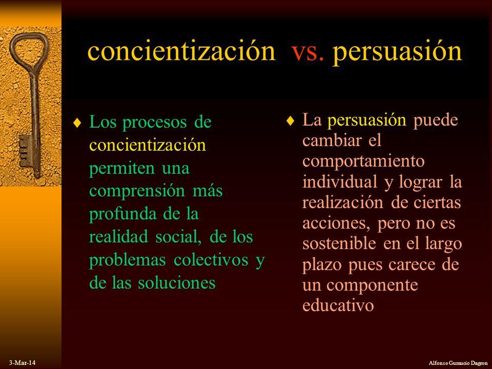 3-Mar-14 Alfonso Gumucio Dagron concientización vs. persuasión Los procesos de concientización permiten una comprensión más profunda de la realidad so