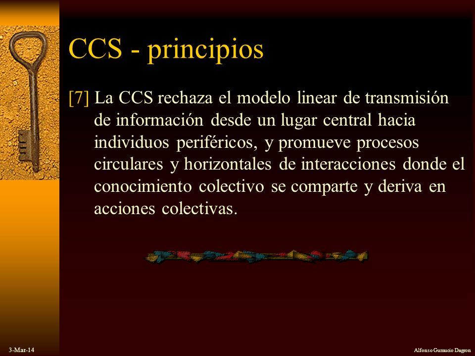 3-Mar-14 Alfonso Gumucio Dagron CCS - principios [7] La CCS rechaza el modelo linear de transmisión de información desde un lugar central hacia indivi