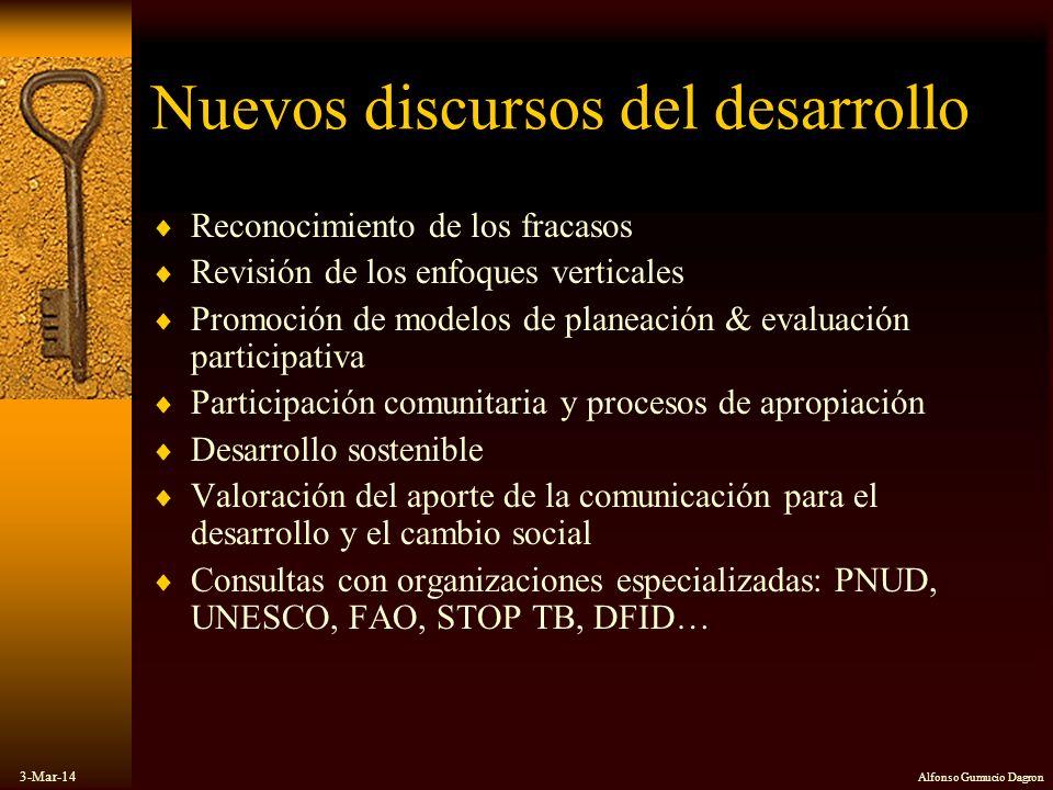 3-Mar-14 Alfonso Gumucio Dagron Nuevos discursos del desarrollo Reconocimiento de los fracasos Revisión de los enfoques verticales Promoción de modelo