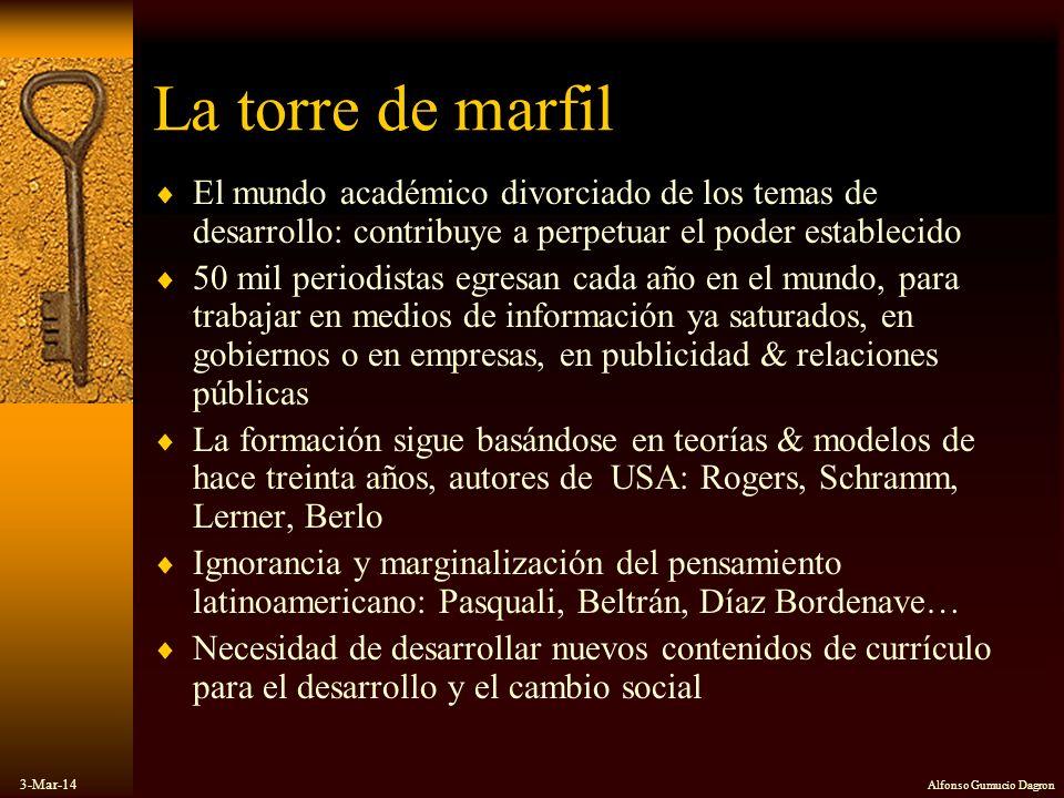 3-Mar-14 Alfonso Gumucio Dagron La torre de marfil El mundo académico divorciado de los temas de desarrollo: contribuye a perpetuar el poder estableci