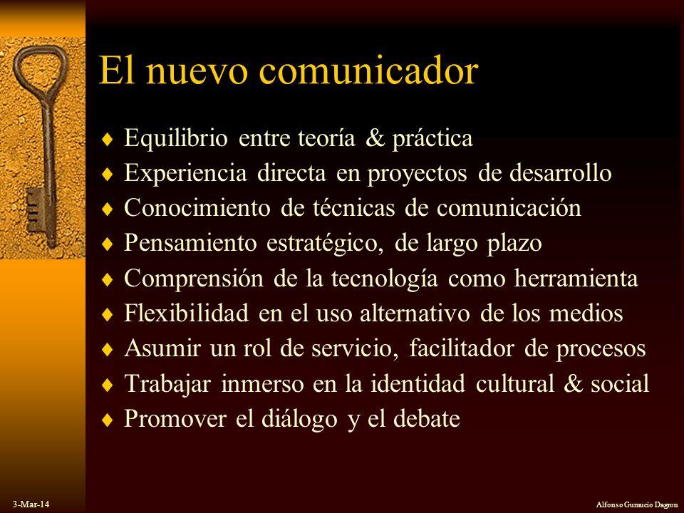 3-Mar-14 Alfonso Gumucio Dagron El nuevo comunicador Equilibrio entre teoría & práctica Experiencia directa en proyectos de desarrollo Conocimiento de