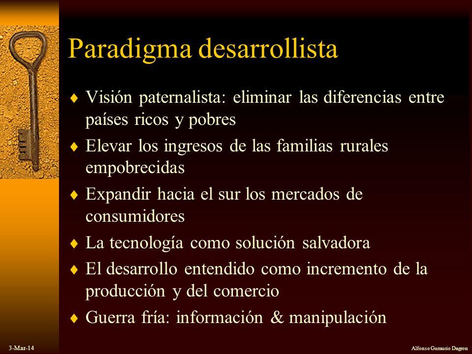3-Mar-14 Alfonso Gumucio Dagron Paradigma desarrollista Visión paternalista: eliminar las diferencias entre países ricos y pobres Elevar los ingresos