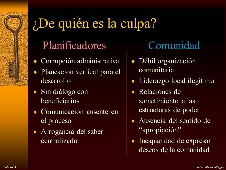 3-Mar-14 Alfonso Gumucio Dagron ¿De quién es la culpa? Corrupción administrativa Planeación vertical para el desarrollo Sin diálogo con beneficiarios