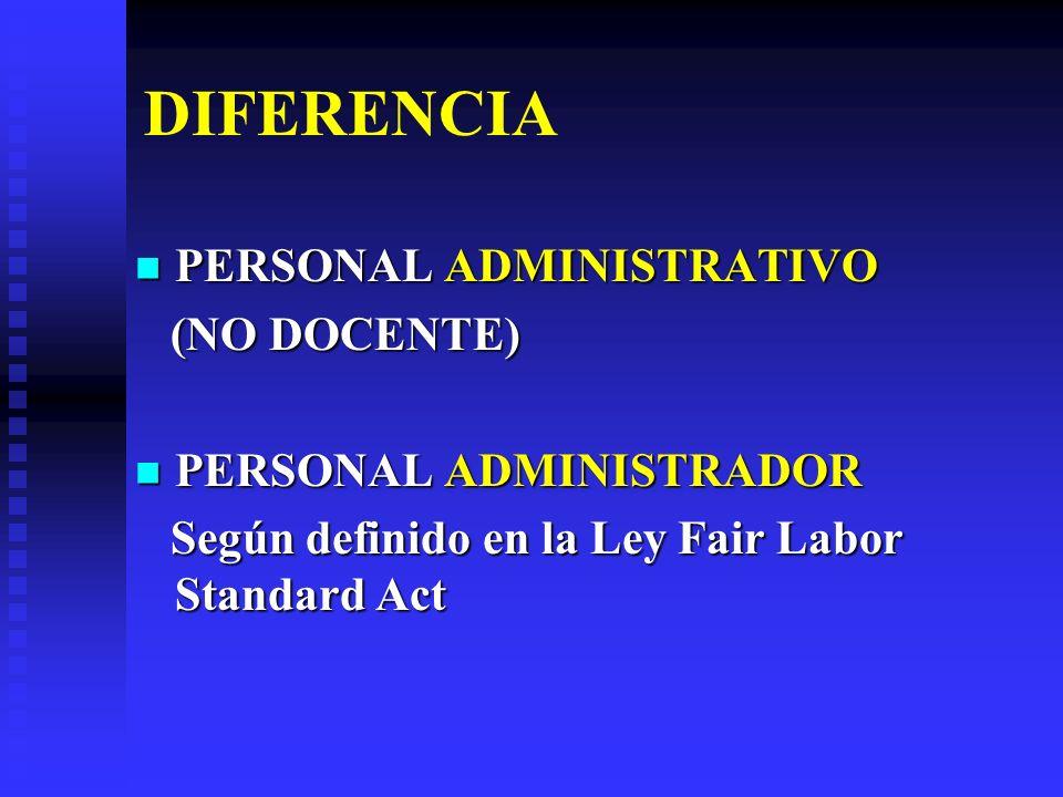 DIFERENCIA PERSONAL ADMINISTRATIVO PERSONAL ADMINISTRATIVO (NO DOCENTE) (NO DOCENTE) PERSONAL ADMINISTRADOR PERSONAL ADMINISTRADOR Según definido en l