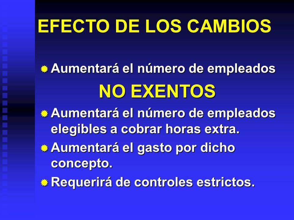 EFECTO DE LOS CAMBIOS Aumentará el número de empleados Aumentará el número de empleados NO EXENTOS Aumentará el número de empleados elegibles a cobrar