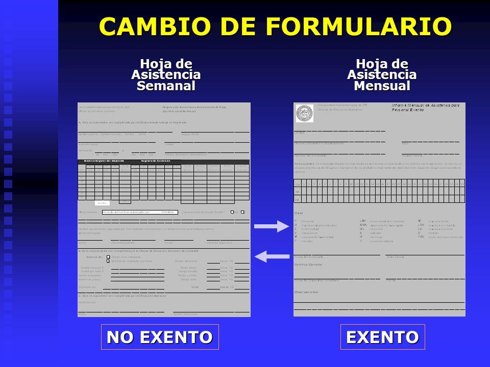 EXENTO NO EXENTO Hoja de Asistencia Semanal Hoja de Asistencia Mensual CAMBIO DE FORMULARIO