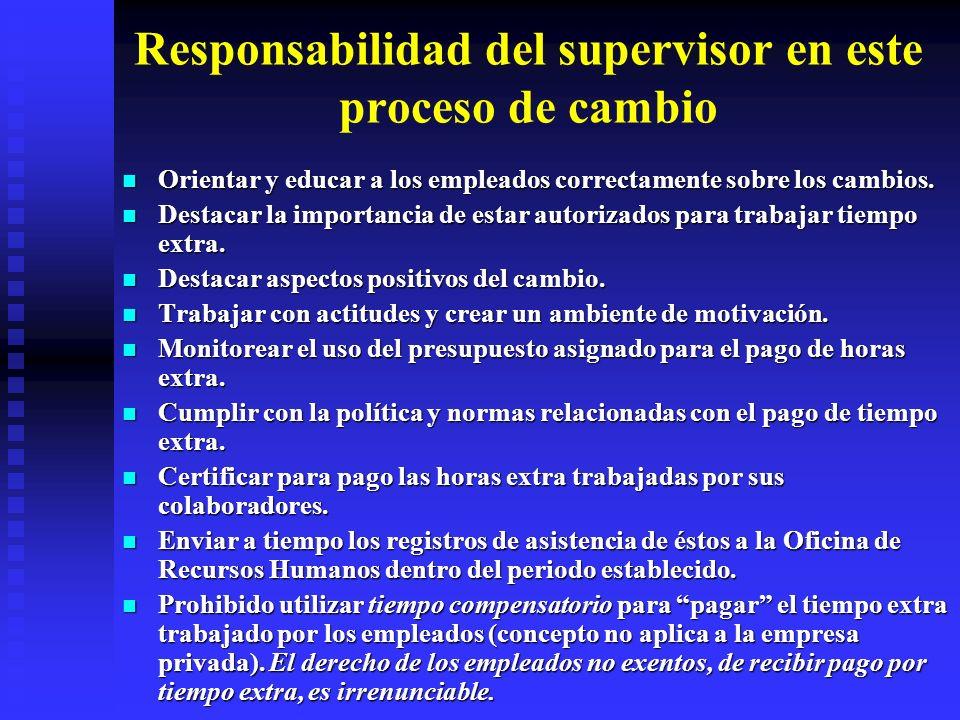Responsabilidad del supervisor en este proceso de cambio Orientar y educar a los empleados correctamente sobre los cambios. Orientar y educar a los em