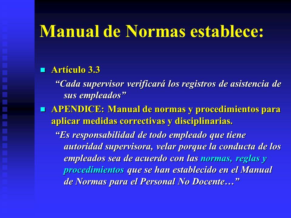 Manual de Normas establece: Artículo 3.3 Artículo 3.3 Cada supervisor verificará los registros de asistencia de sus empleados APENDICE: Manual de norm