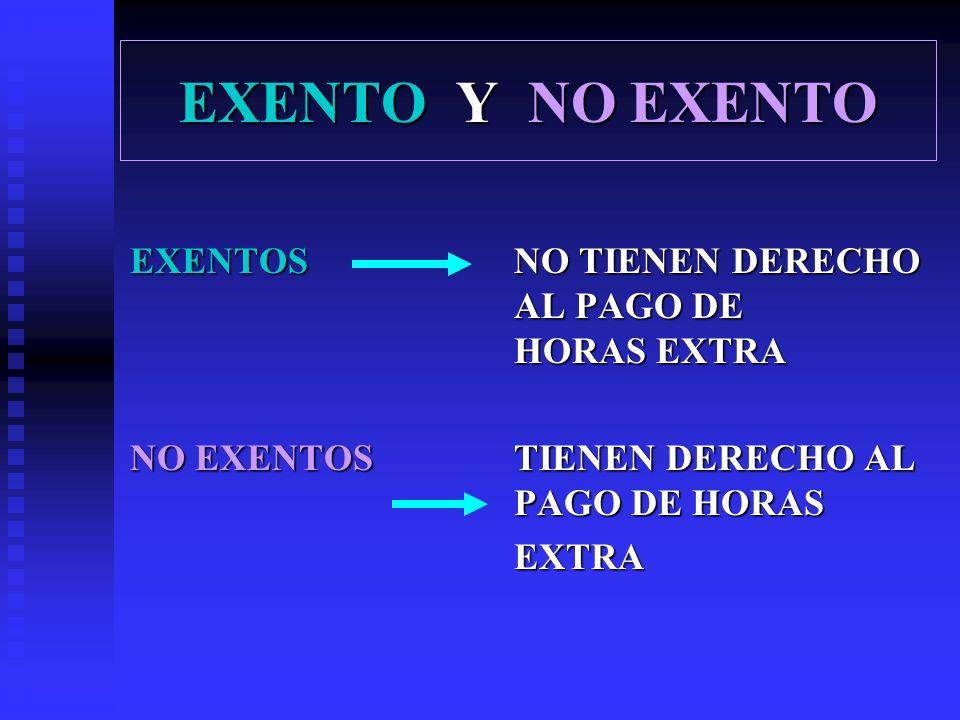 EXENTO Y NO EXENTO EXENTOS NO TIENEN DERECHO AL PAGO DE HORAS EXTRA NO EXENTOSTIENEN DERECHO AL PAGO DE HORAS EXTRA
