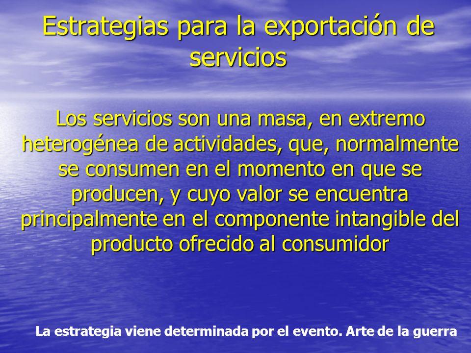 Estrategias para la exportación de servicios Los servicios son una masa, en extremo heterogénea de actividades, que, normalmente se consumen en el momento en que se producen, y cuyo valor se encuentra principalmente en el componente intangible del producto ofrecido al consumidor La estrategia viene determinada por el evento.