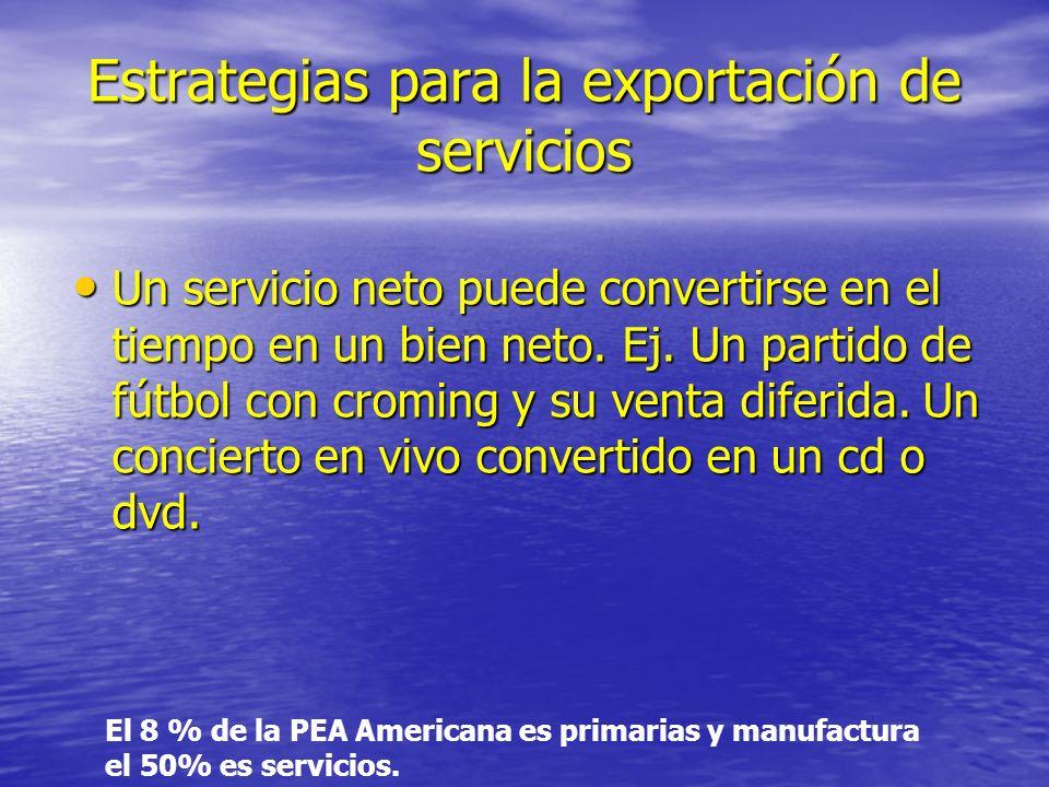 Estrategias para la exportación de servicios Un servicio neto puede convertirse en el tiempo en un bien neto.