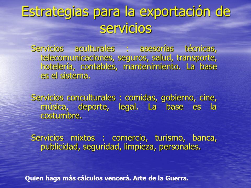 Estrategias para la exportación de servicios Servicios aculturales : asesorías técnicas, telecomunicaciones, seguros, salud, transporte, hotelería, contables, mantenimiento.