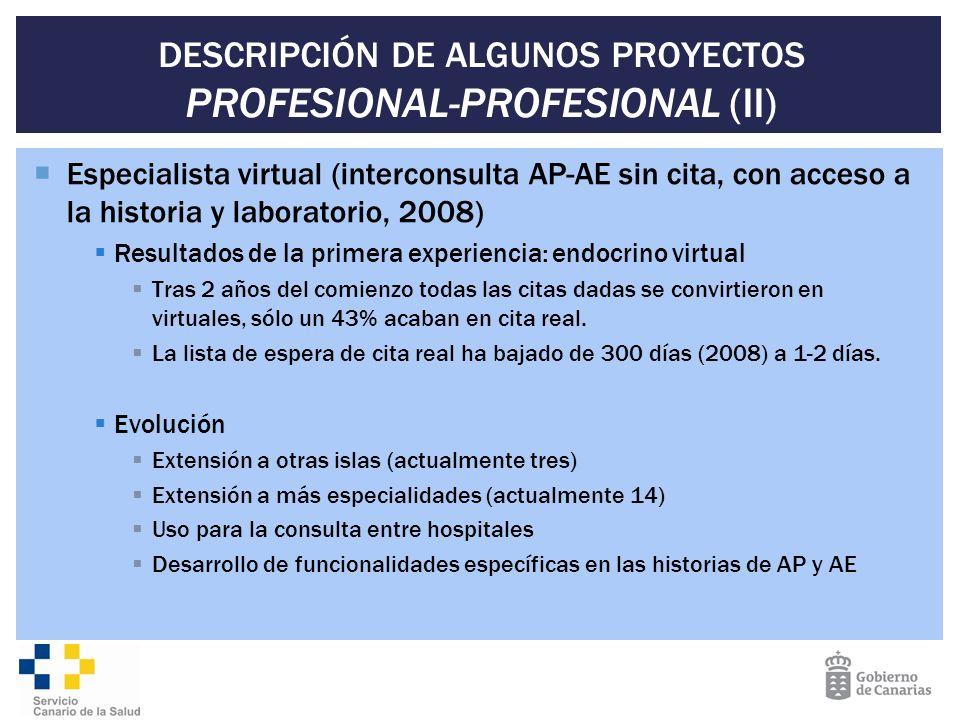 DESCRIPCIÓN DE ALGUNOS PROYECTOS PROFESIONAL-PROFESIONAL (II) Especialista virtual (interconsulta AP-AE sin cita, con acceso a la historia y laborator