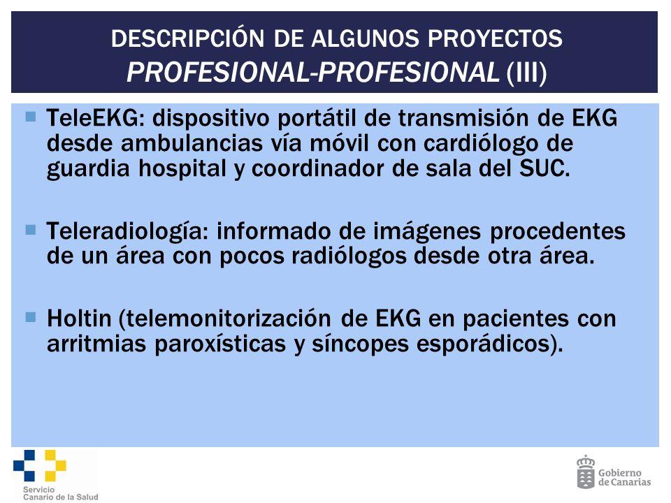 DESCRIPCIÓN DE ALGUNOS PROYECTOS PROFESIONAL-PROFESIONAL (III) TeleEKG: dispositivo portátil de transmisión de EKG desde ambulancias vía móvil con car
