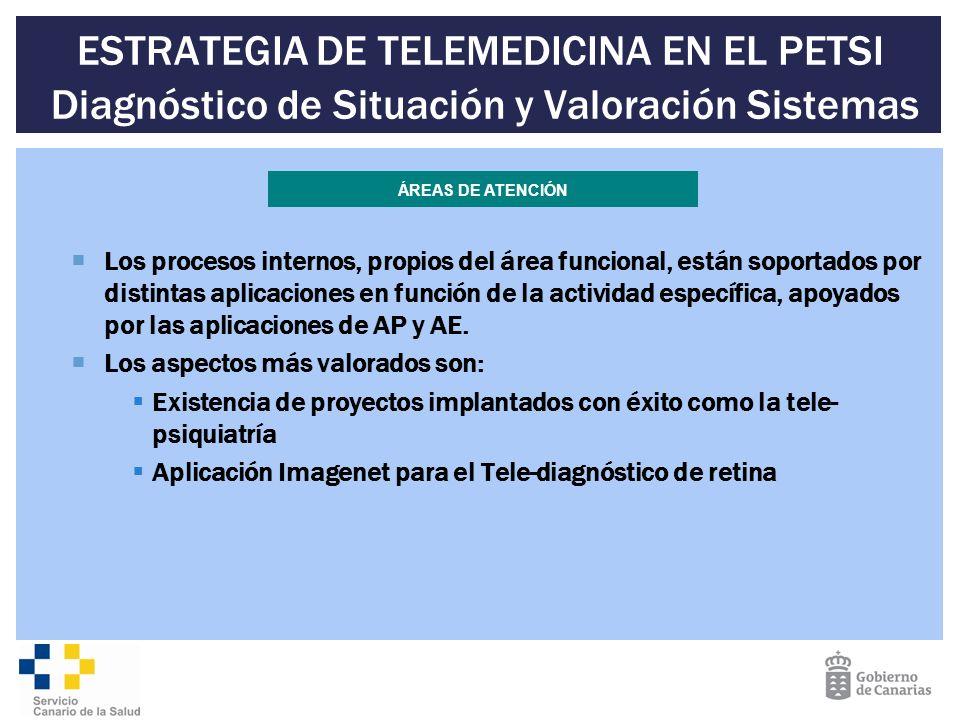 ESTRATEGIA DE TELEMEDICINA EN EL PETSI Diagnóstico de Situación y Valoración Sistemas Los procesos internos, propios del área funcional, están soporta