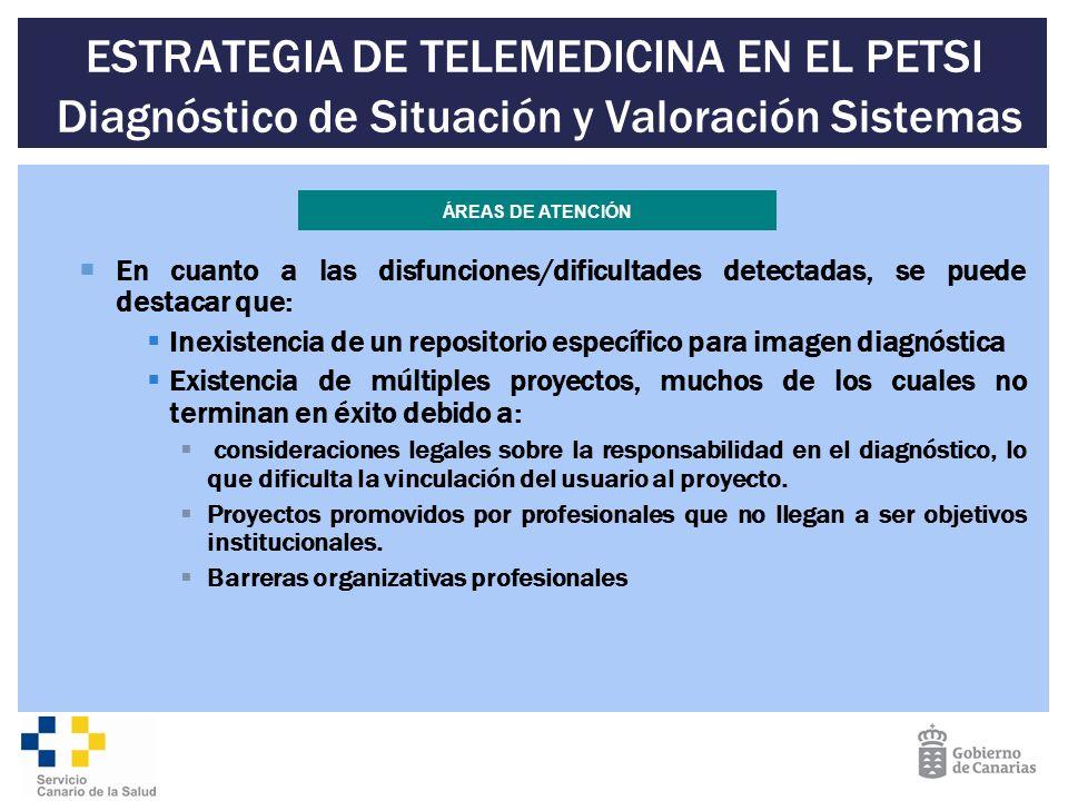 ESTRATEGIA DE TELEMEDICINA EN EL PETSI Diagnóstico de Situación y Valoración Sistemas En cuanto a las disfunciones/dificultades detectadas, se puede d