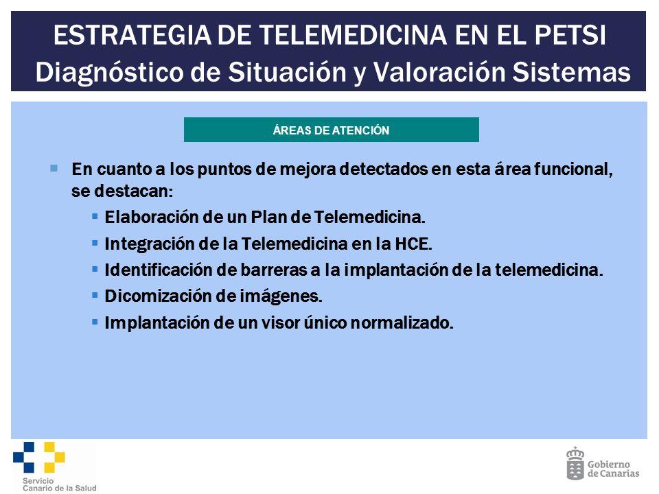 ESTRATEGIA DE TELEMEDICINA EN EL PETSI Diagnóstico de Situación y Valoración Sistemas En cuanto a los puntos de mejora detectados en esta área funcion