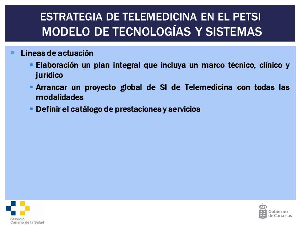 ESTRATEGIA DE TELEMEDICINA EN EL PETSI MODELO DE TECNOLOGÍAS Y SISTEMAS Líneas de actuación Elaboración un plan integral que incluya un marco técnico,