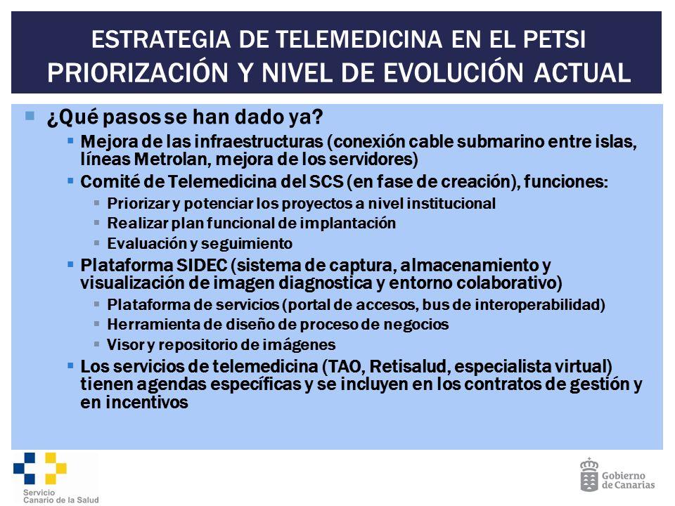 ESTRATEGIA DE TELEMEDICINA EN EL PETSI PRIORIZACIÓN Y NIVEL DE EVOLUCIÓN ACTUAL ¿Qué pasos se han dado ya? Mejora de las infraestructuras (conexión ca