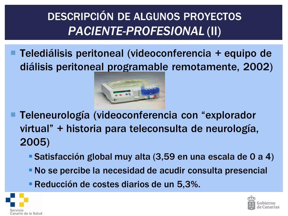 DESCRIPCIÓN DE ALGUNOS PROYECTOS PACIENTE-PROFESIONAL (II) Telediálisis peritoneal (videoconferencia + equipo de diálisis peritoneal programable remot