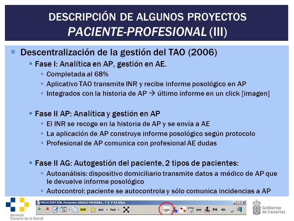 DESCRIPCIÓN DE ALGUNOS PROYECTOS PACIENTE-PROFESIONAL (III) Descentralización de la gestión del TAO (2006) Fase I: Analítica en AP, gestión en AE. Com