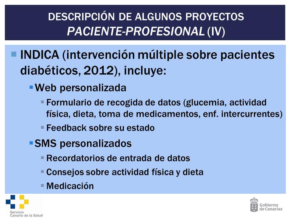 DESCRIPCIÓN DE ALGUNOS PROYECTOS PACIENTE-PROFESIONAL (IV) INDICA (intervención múltiple sobre pacientes diabéticos, 2012), incluye: Web personalizada