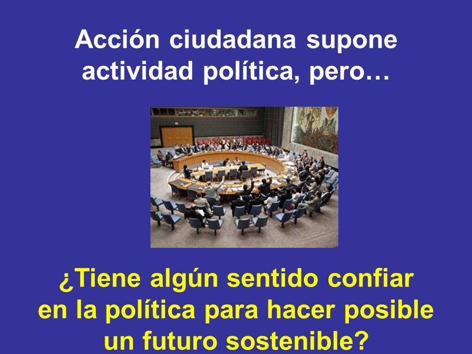 Acción ciudadana supone actividad política, pero… ¿Tiene algún sentido confiar en la política para hacer posible un futuro sostenible?