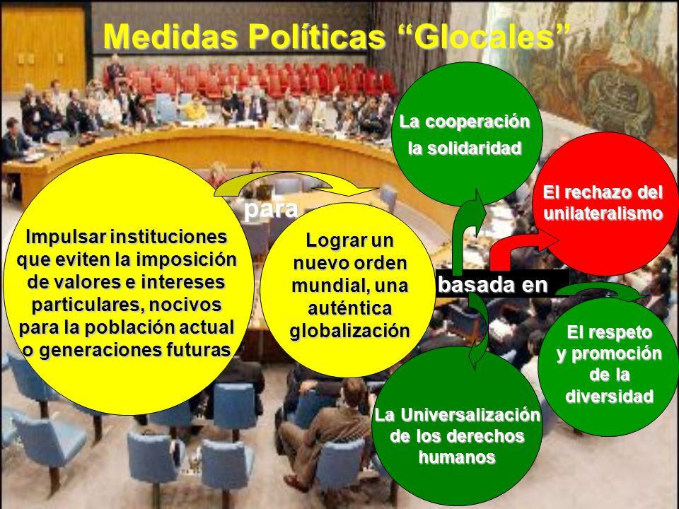 Medidas Políticas Glocales Impulsar instituciones que eviten la imposición de valores e intereses particulares, nocivos para la población actual o gen