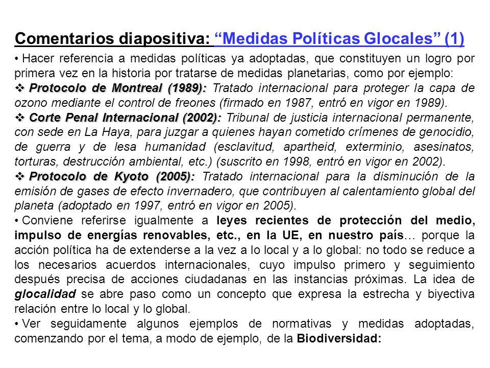 Comentarios diapositiva: Medidas Políticas Glocales (1) Hacer referencia a medidas políticas ya adoptadas, que constituyen un logro por primera vez en